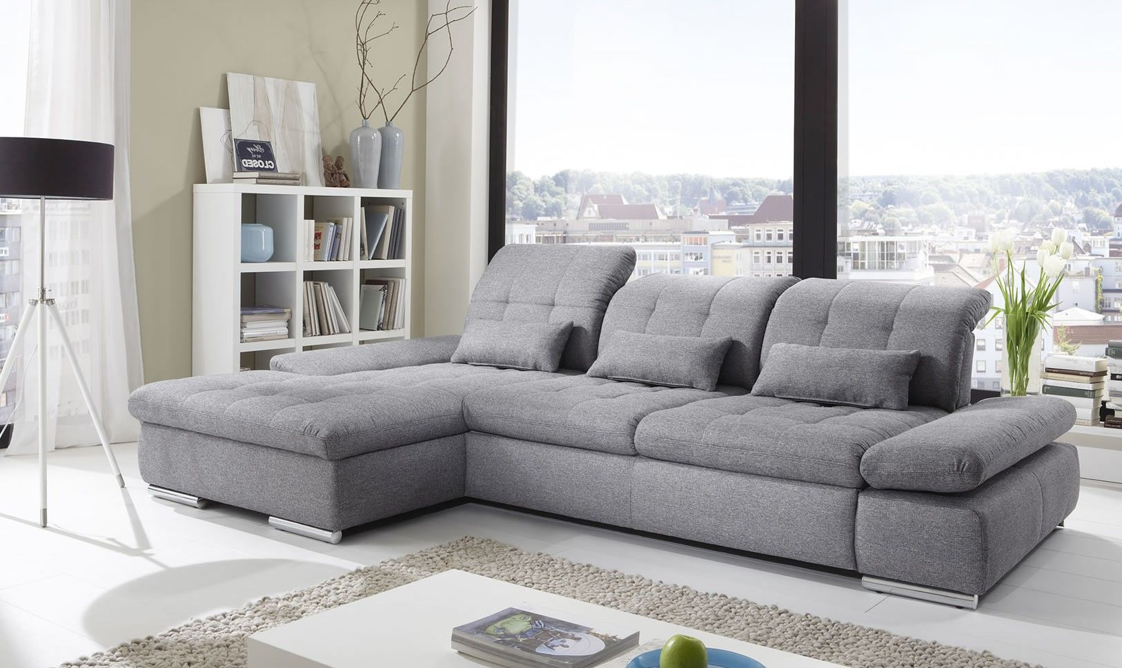 - Modern Leather Light Grey Fabric Sectional Sectional Sleeper