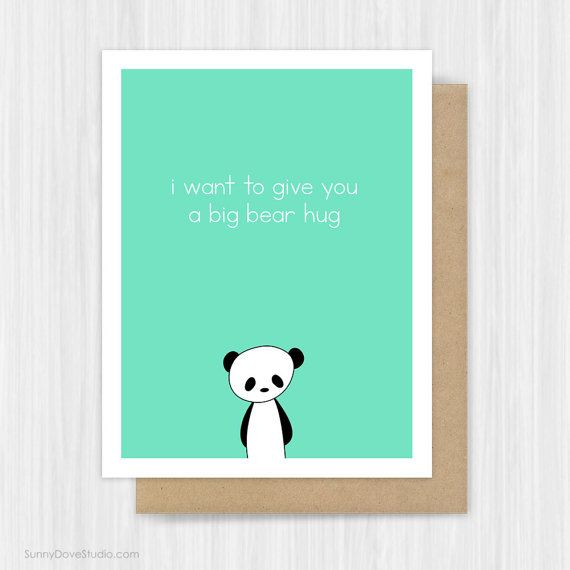 Thinking Of You Card Panda Bear Hug Pun Love Encouragement