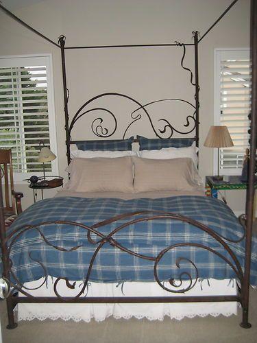 Beautiful Custom Built Wrought Iron 4 Post Bed Frame Organic Art Nouveau Style Ebay