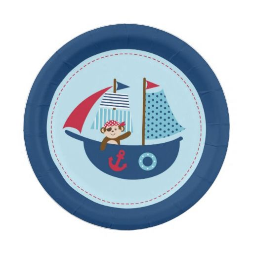 Nautical Pirate Monkey Paper Plates 7 Inch Paper Plate  sc 1 st  Pinterest & Nautical Pirate Whale Baby Shower Paper Plate | Pirate birthday and ...