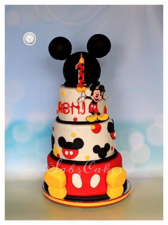 Edible Fondant 2d Mickey Mouse Birthday Cake Topper Cake Design