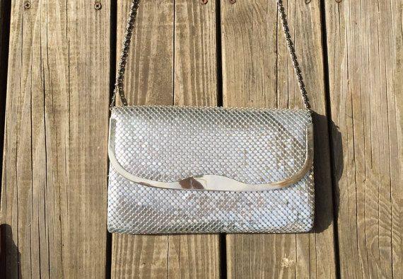 Vintage Silver Metallic Mesh Clutch by LittleMisVintage on Etsy