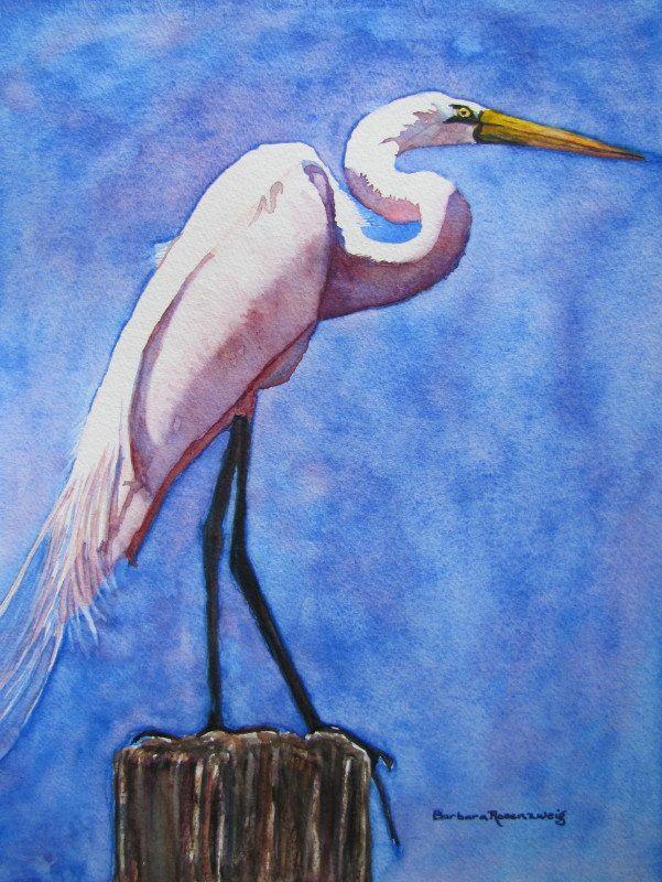 Egret Bird Watercolor Painting Coastal Decor Anna Maria Etsy Bird Watercolor Paintings Watercolor Bird Bird Art