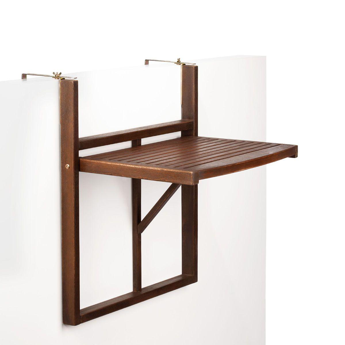 Lodge mesa plegable para barandilla de balc n marr n - Mesa colgante para balcon ...