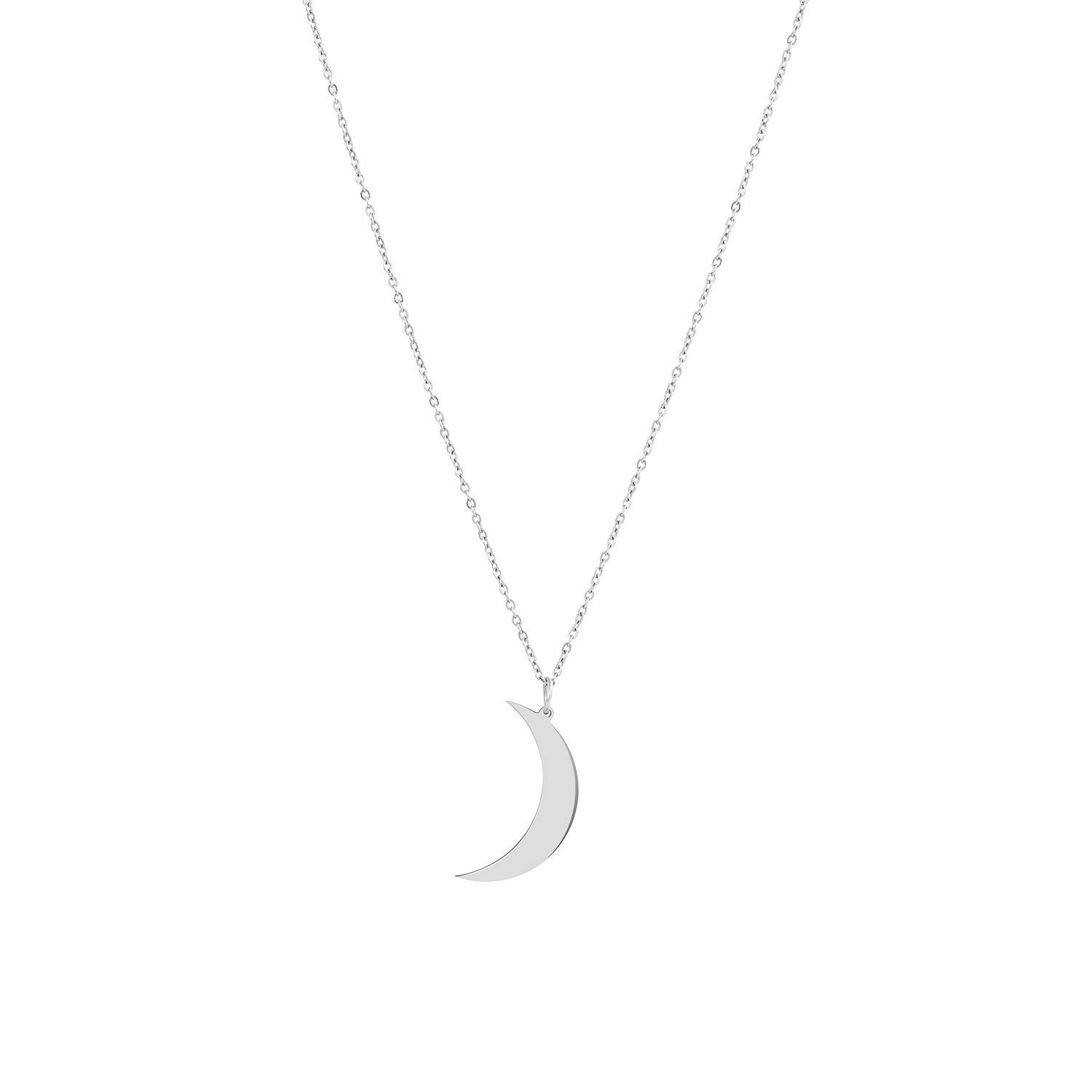 Molyveva Love Heart Crescent Moon Pendant Necklace I Love You to The Moon and Back Necklace