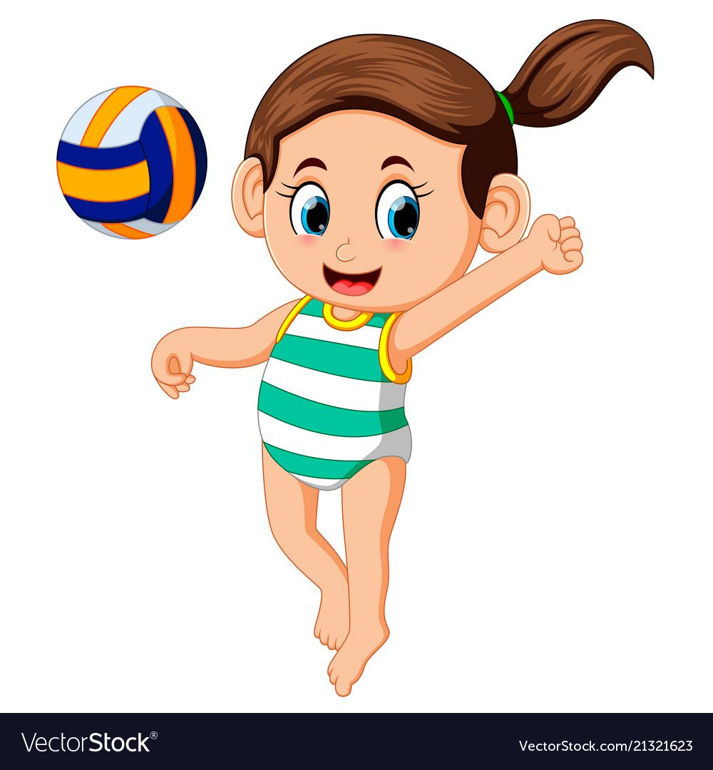 Cartoon Girl Playing Volleyball On A White Backgro Vector Image On Vectorstock Girl Cartoon Cartoon Cartoon Kids
