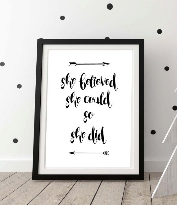 Girly Bedroom Posters: Teen Girl Room Decor, Wall Art Quotes, She Believed She