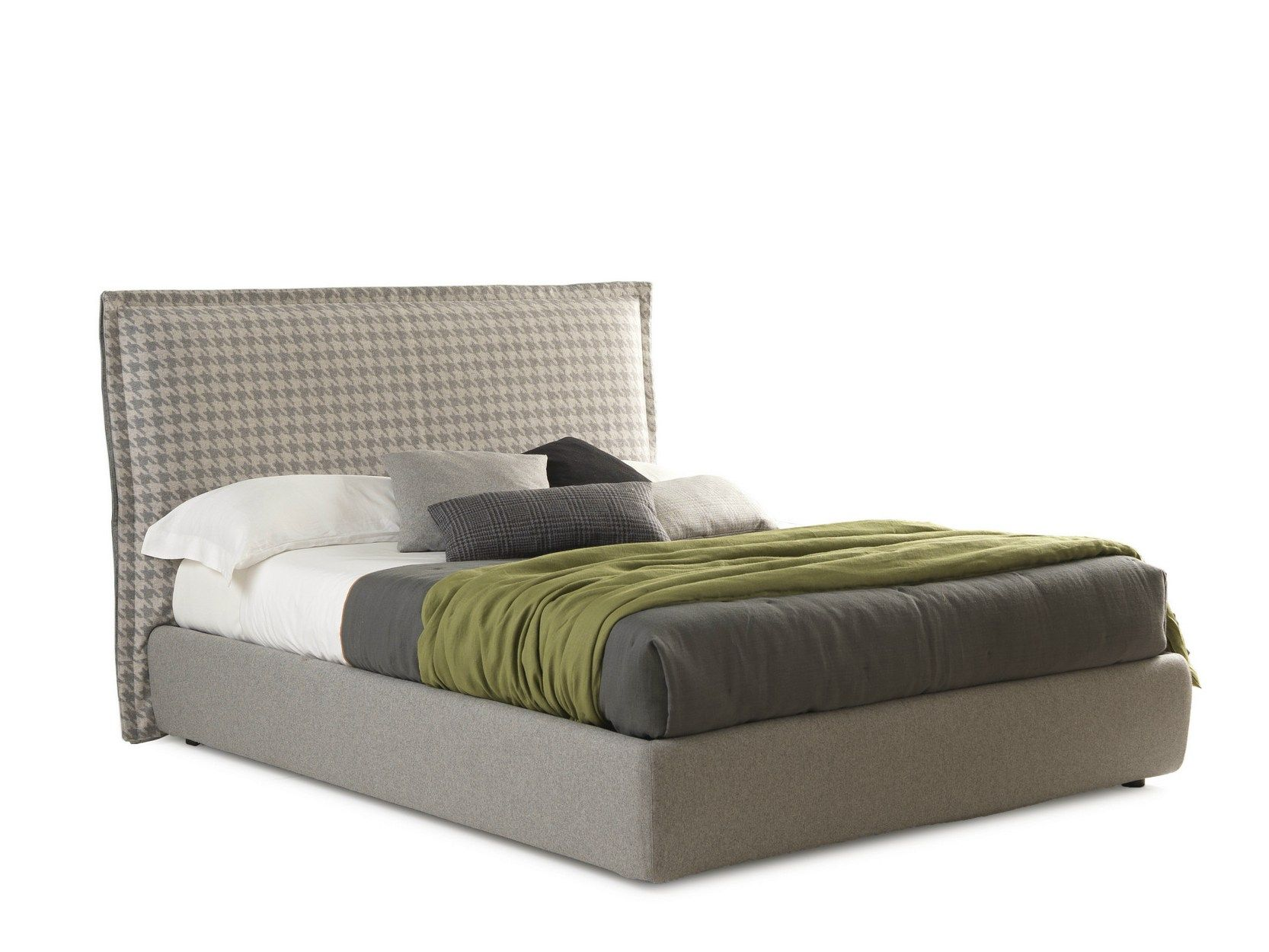Fabric Double Bed With High Headboard Handsome Big Handsome