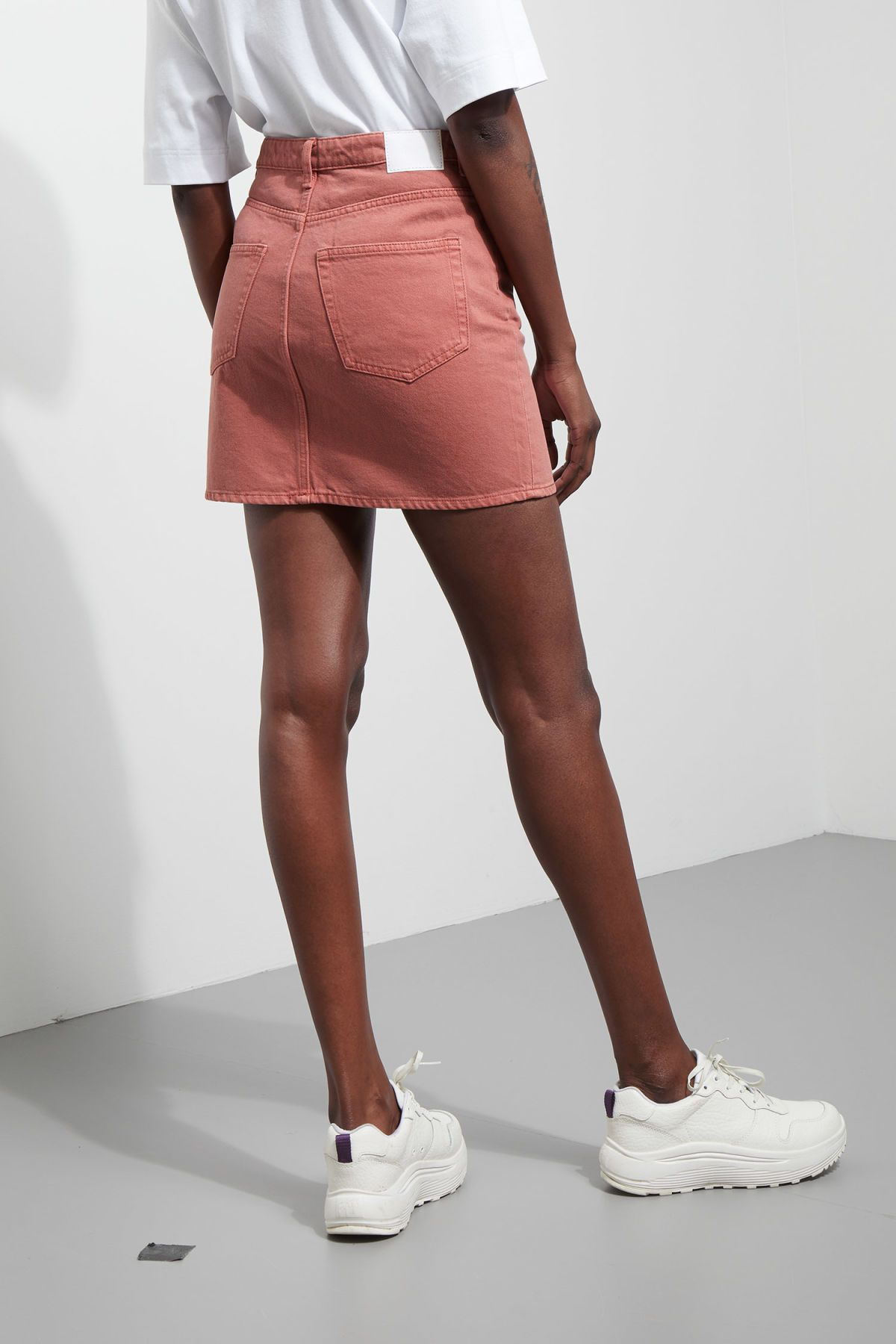 fdd993c538eb78 Model side image of Weekday null in orange Orange Skirt, Denim Mini Skirt,  Mini