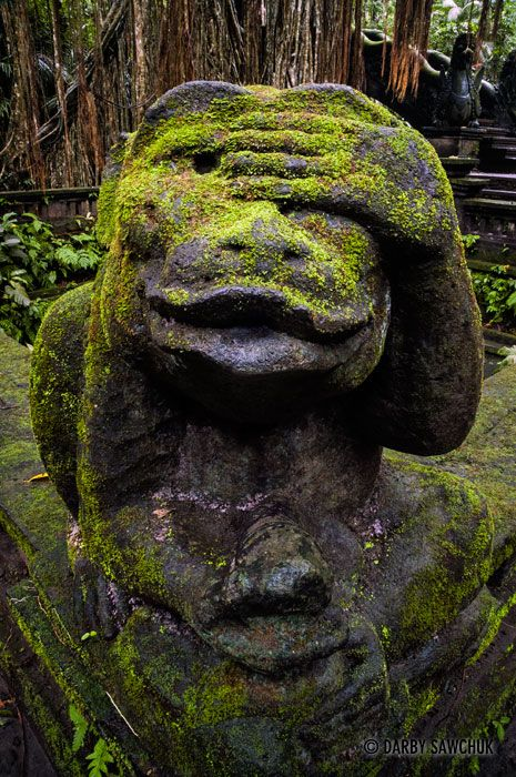 A monkey statue at the Sacred Monkey Forest Sanctuary in Ubud, Bali, Indonesia