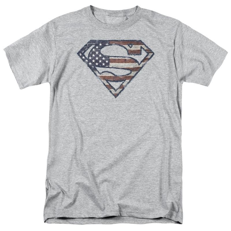 Superman War Torn Flag Shield DC Comics Licensed Adult T-Shirt