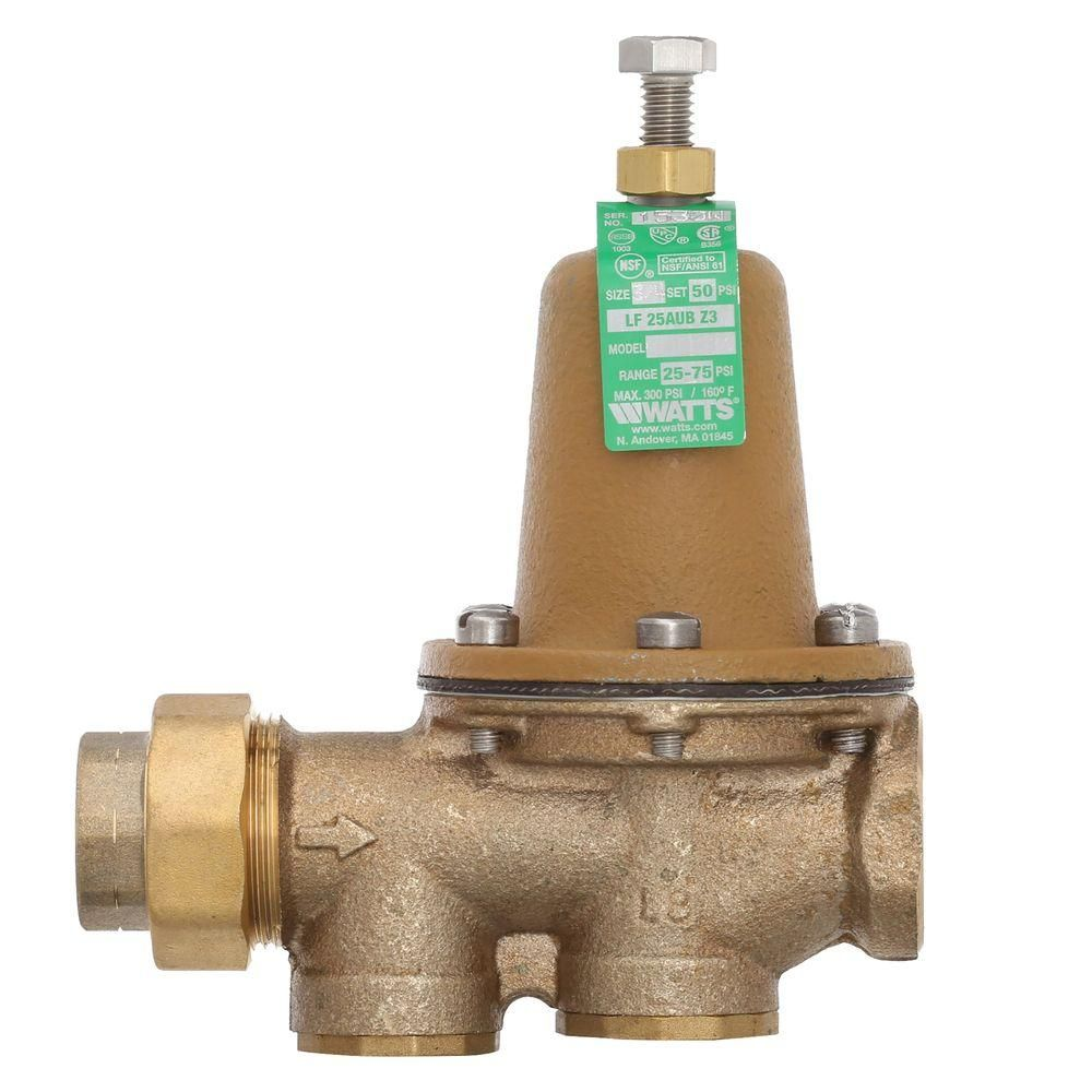Watts 3 4 In Brass Fpt X Fpt Water Pressure Reducing Valve 3 4 Lf25aub Z3 The Home Depot In 2020 Valve Pressure Plumbing Tools