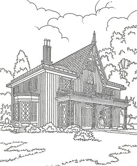 Victorian Coloring Pages For Adults Gothic House Colouring