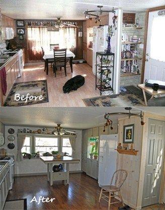 Before and after single wide mobile home remodel diy for Mobile home remodel before and after