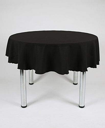 Black Plain Polyester Round Tablecloth For A Kitchen Dining Table 48 Table Cloth Small Tables Dining Table In Kitchen