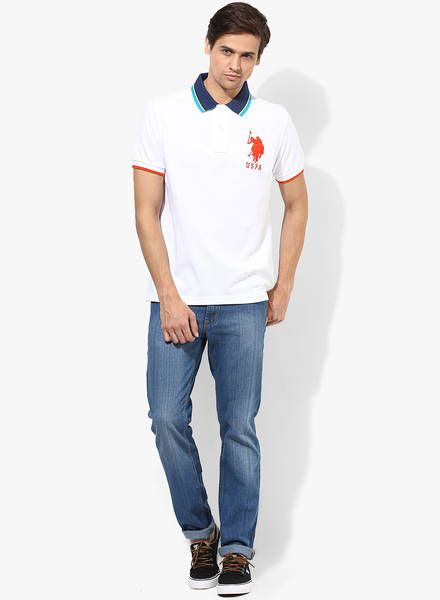 9ca15697 Dress to the nines by wearing this white coloured T-shirt from U.S. Polo  Assn. Made from cotton, this T-shirt will stay extremely soft against the  skin.