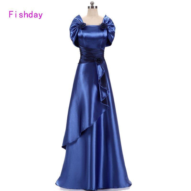 Günstige Satin Gold Royal Blue Abendkleider Lang Plus Größe Elegante ...