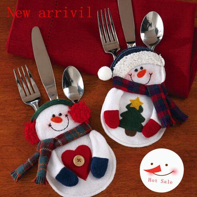 Merry Sweet Christmas Decoration Santa Silverware Holders Pockets