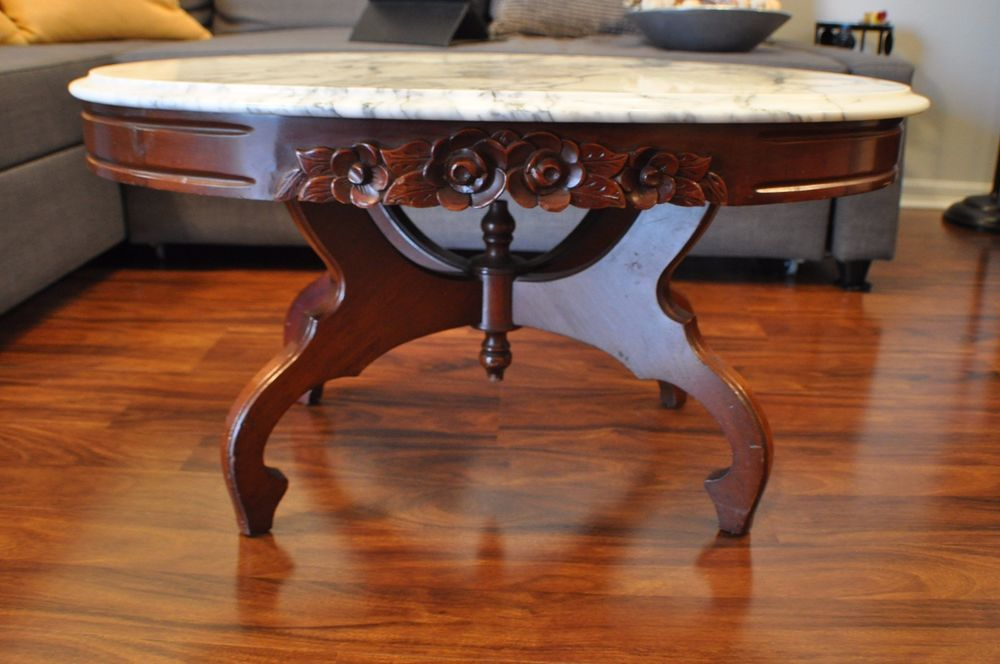 Antique Cherry Marble Top Coffee Table Victorian Marble Top