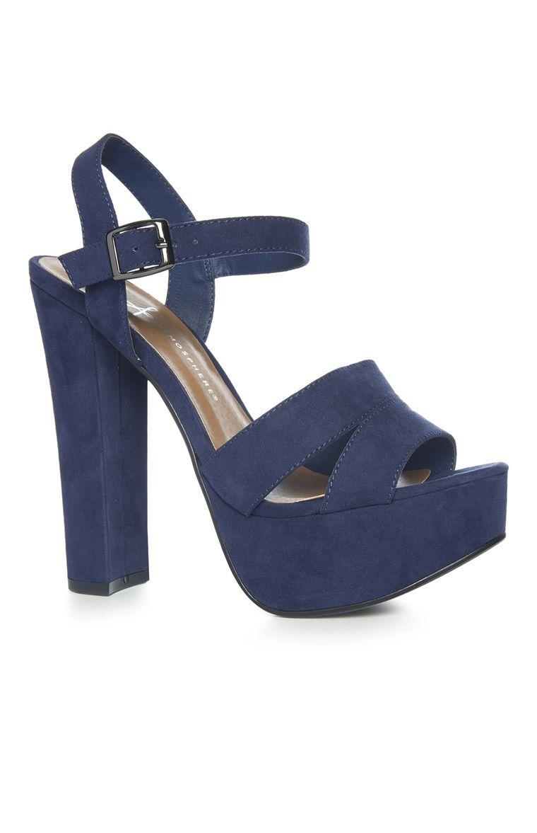 Chaussures bleu marine à double bride à talon et plateforme