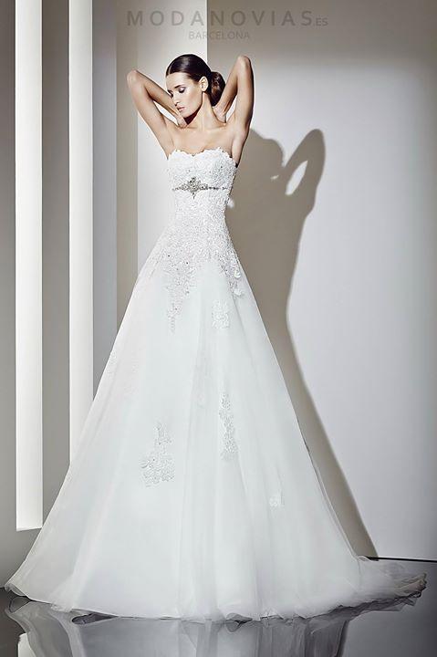 Vestido de novia 1196 de encaje reboré con escote palabra de honor y ...