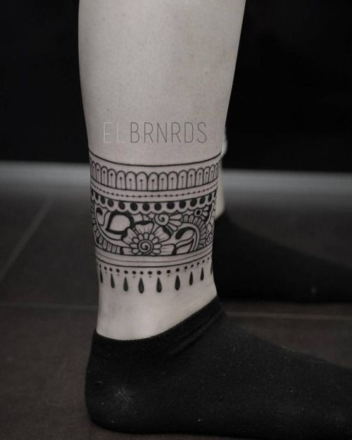 Henna/ornamental style ankle band tattoo. Tattoo artist ...