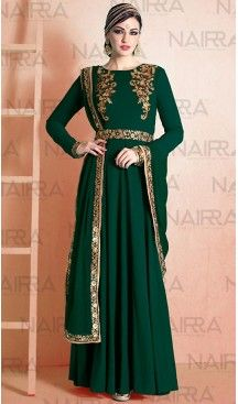 Pakistani Style Bottle Green Color Georgette Churidar Dresses Fh461071954 Heenastyle Boutique Pakistani Salwar K Model Pakaian Gaun Pakaian India