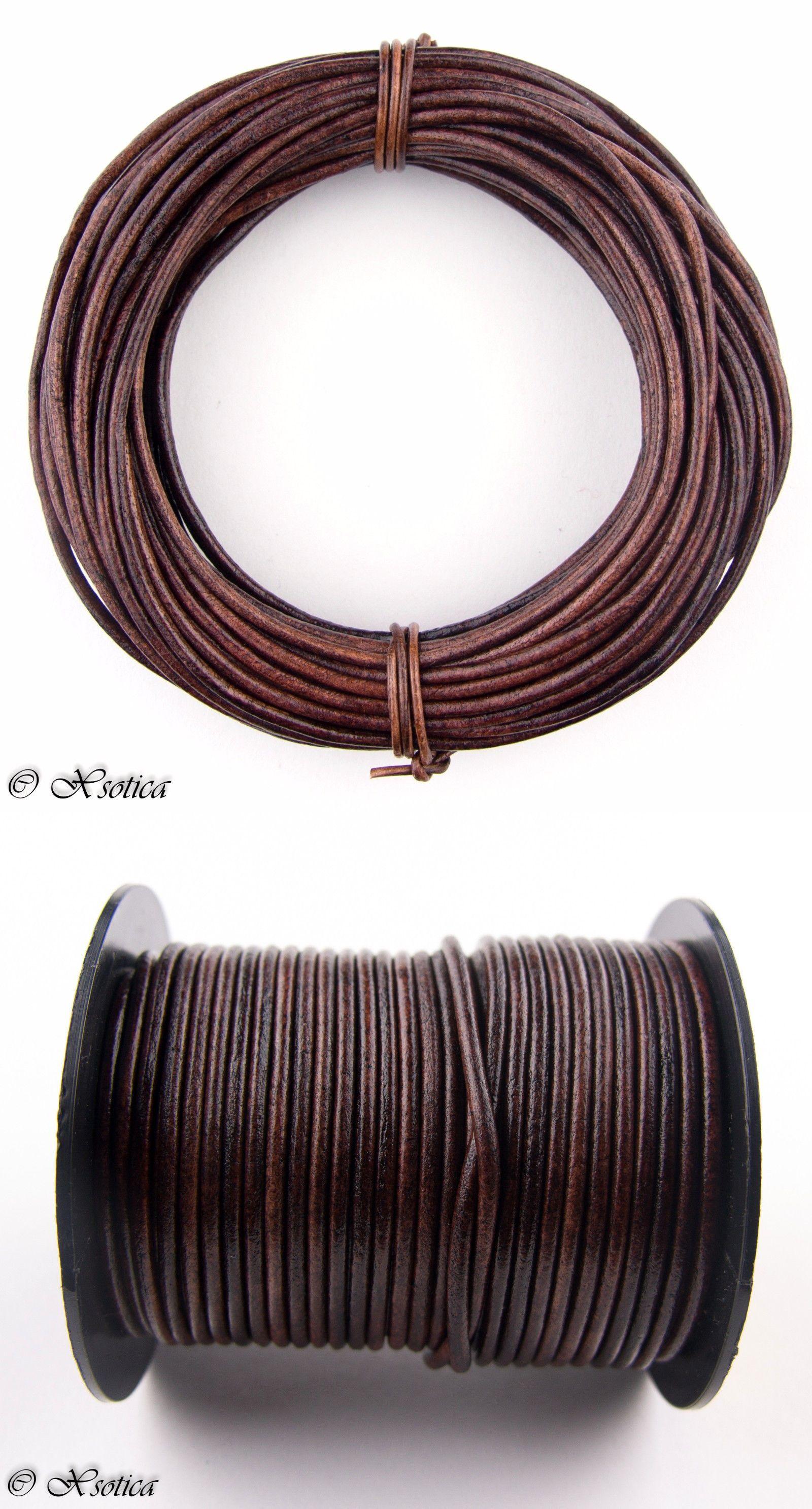 Brown Dark Round Leather Cord 1.5mm 100 meters 109 yards