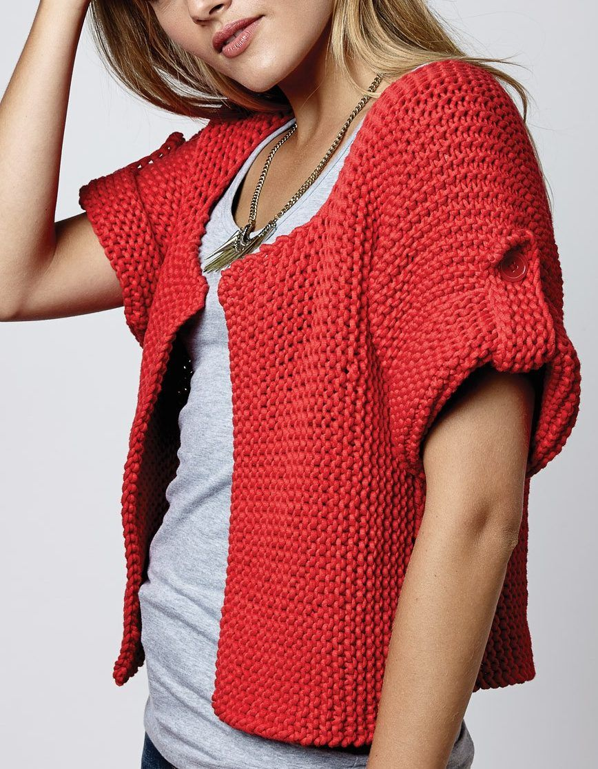 Free Knitting Pattern for Side Street Cardigan - This short sleeved ...