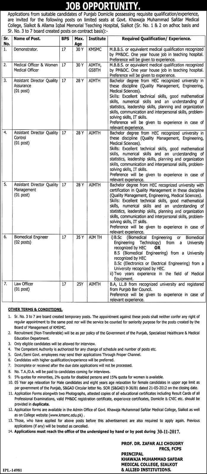 Khawaja Muhammad Safdar Medical College Jobs  In Sialkot For