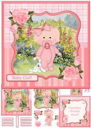 New Baby Girl Mini Kit Decoupage on Craftsuprint - View Now