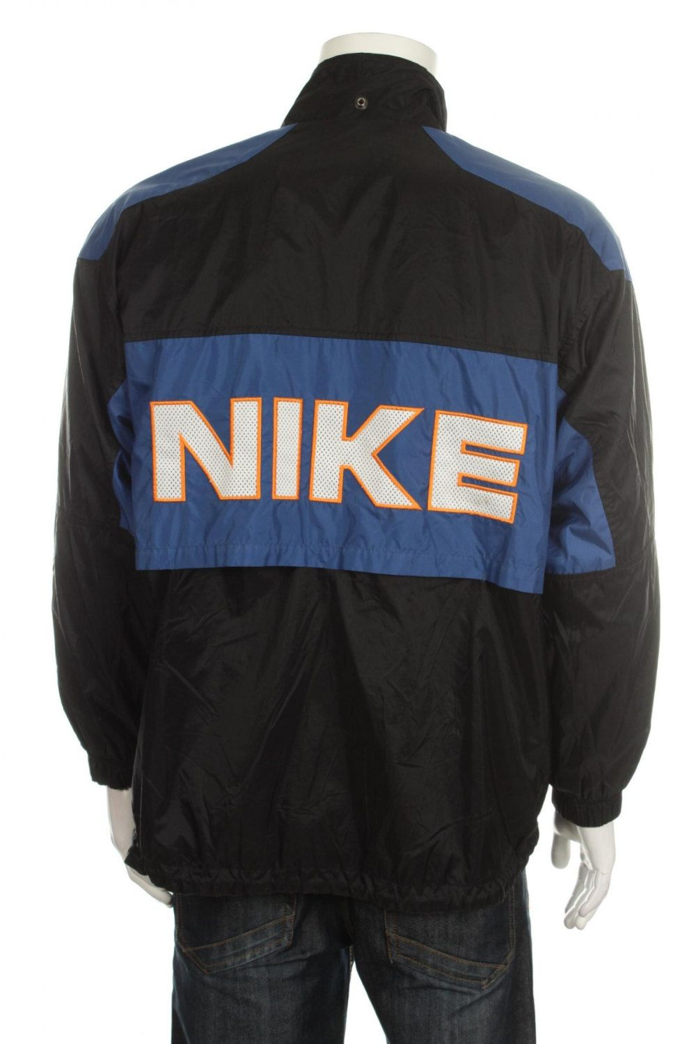 the best attitude 55871 05ad2 Rare Vintage 90s Nike Big Logo Spell out Windbreaker jacket Blue Black Color  Block Size M by VapeoVintage on Etsy