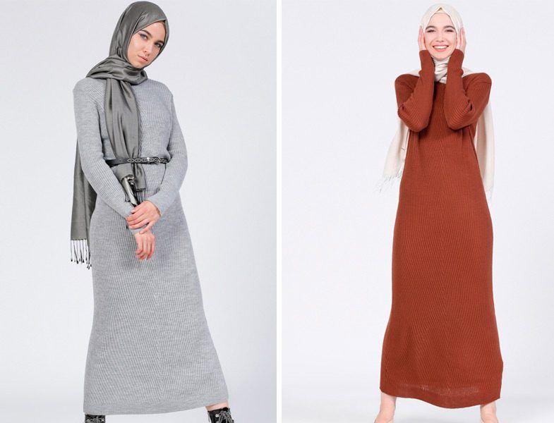 2017 Tesettur Triko Elbise Modelleri Giyim Elbise Modelleri Elbise