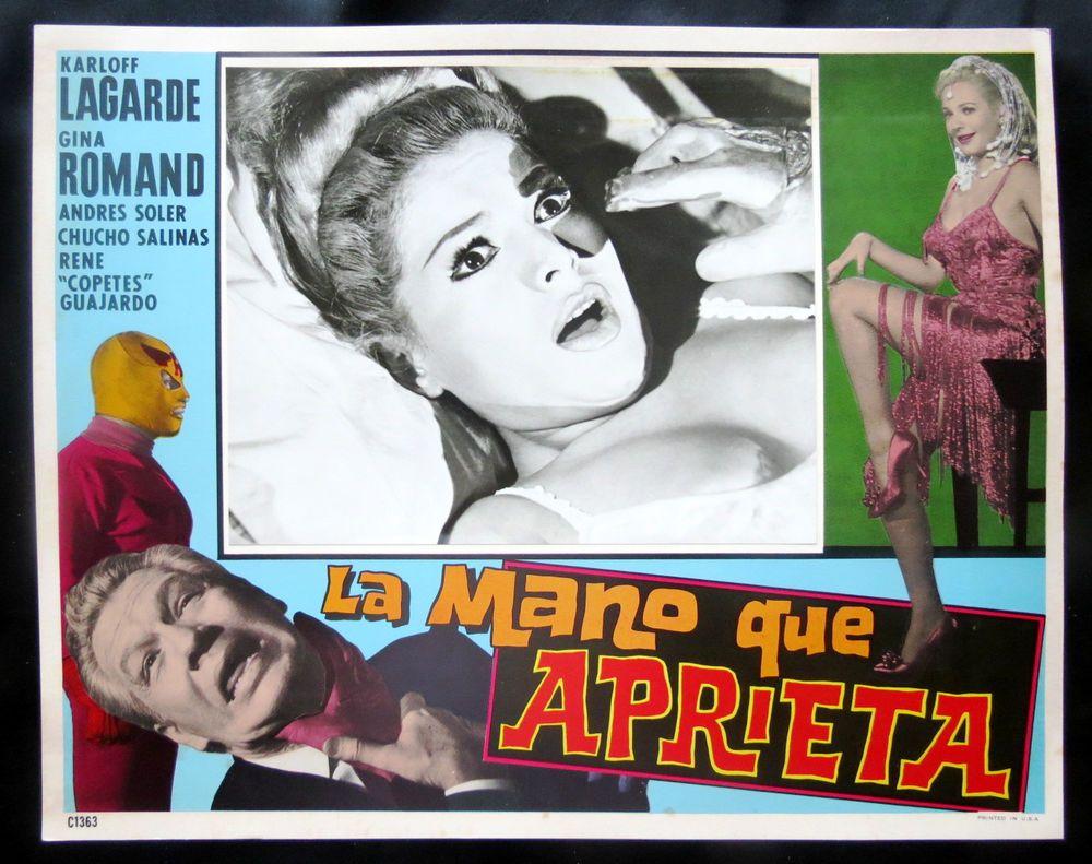 """LA MANO QUE APRIETA"" KARLOF LAGARDE N MINT HORROR WRESTLING LOBBY CARD PHOTO 64"