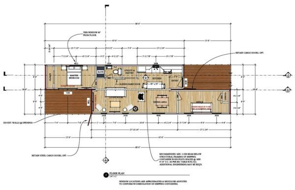 Free plans for a 720 sq. ft. shipping container house - 2 Bedrooms 1