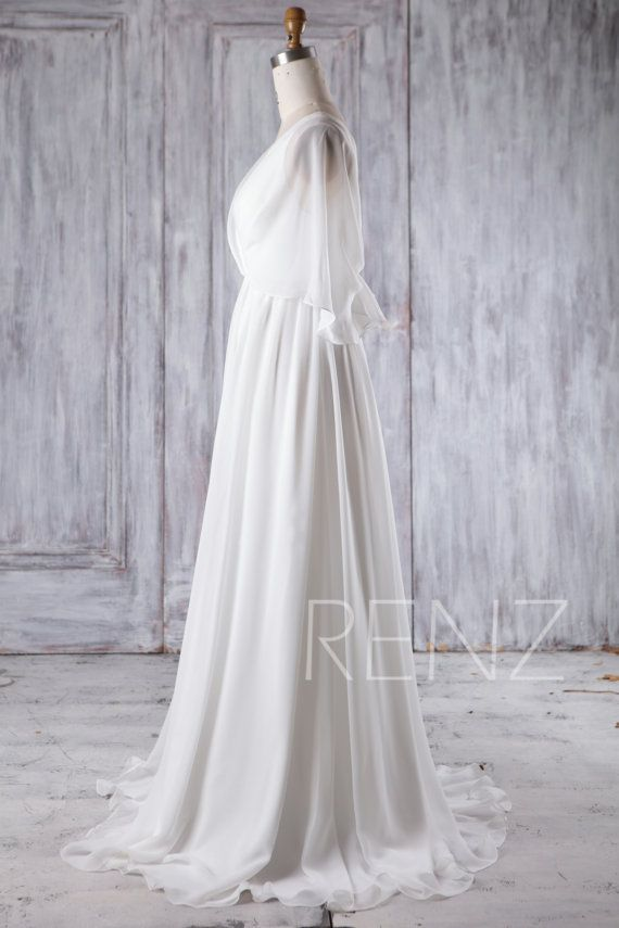 2017 Off White Chiffon Bridesmaid Dress Deep V Neck by RenzRags ...