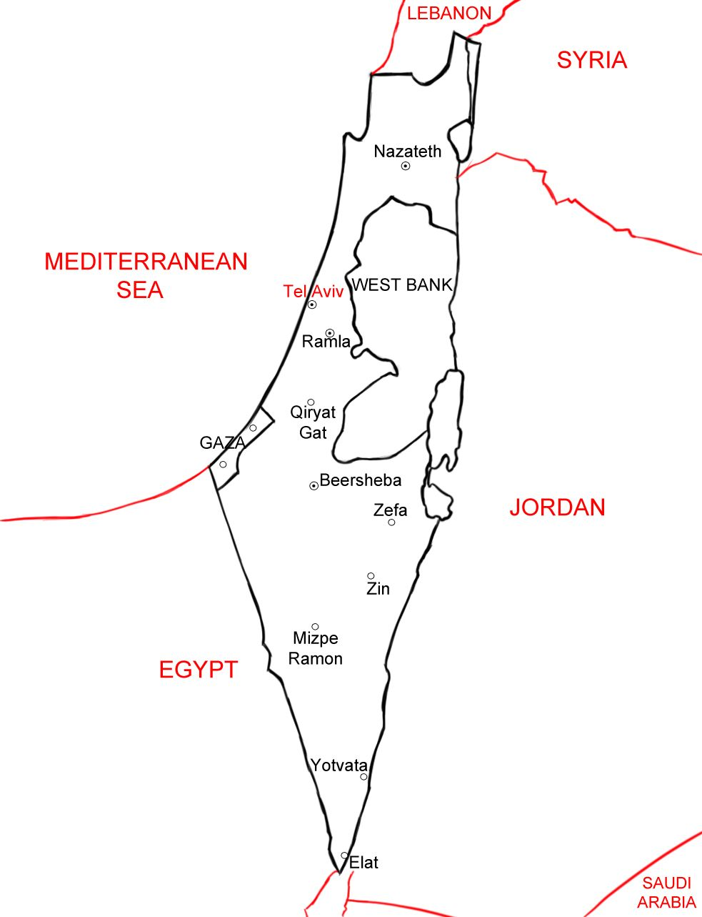 Draw Israel Israel And Map Projects - Unlabeled map of egypt