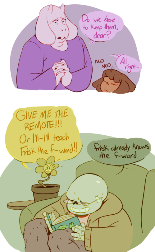 [Click through for more!] Toriel, Frisk, Sans, Papyrus, and Flowey ||| Undertale Fan Art by creepyknees on Tumblr