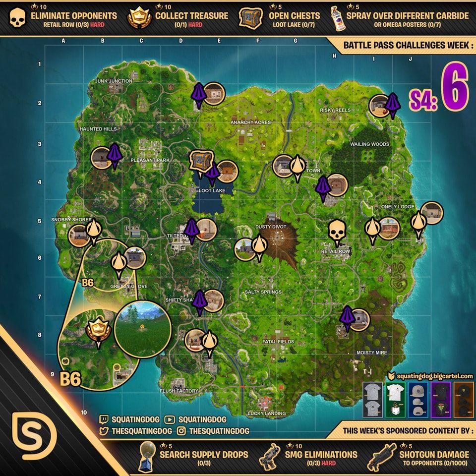 Fortnite Battle Royale Season 4 Week 6 Cheat Sheet Fortnite Challenges Battle Royale Game