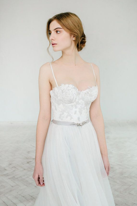 Ivory and gray A line wedding dress, lace and tulle wedding gown ...