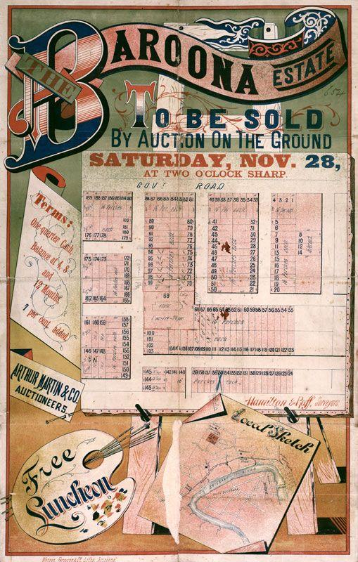 Vintage Poster Print Real Estate Map From The Original Auction Of Baroona Estate Brisbane Queensland In 1885 Sale Poster Map Vintage Posters