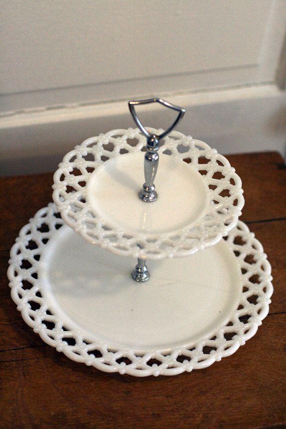 Milk Glass Two Tier Dessert Stand Milk Glass Tiered Dessert