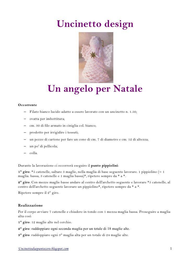 Uncinetto design Un angelo per NataleOccorrente – Filato bianco ...