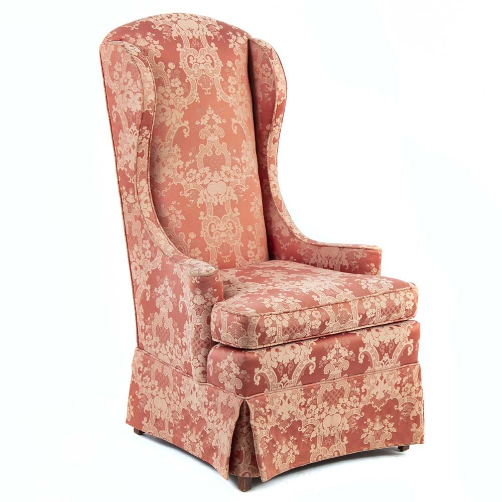 Awesome This Fortner Wingback Chair Is Covered With A Coral Colored Short Links Chair Design For Home Short Linksinfo