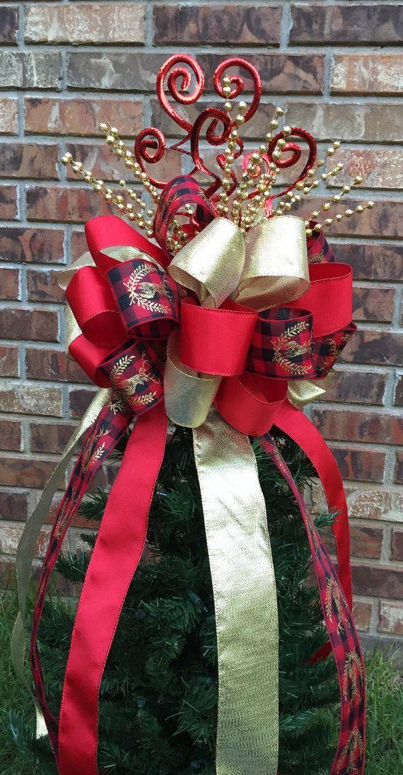 08e8033e0 Christmas Tree Bow Topper - Red/Black Buffalo Plaid w/ Gold Deer ...