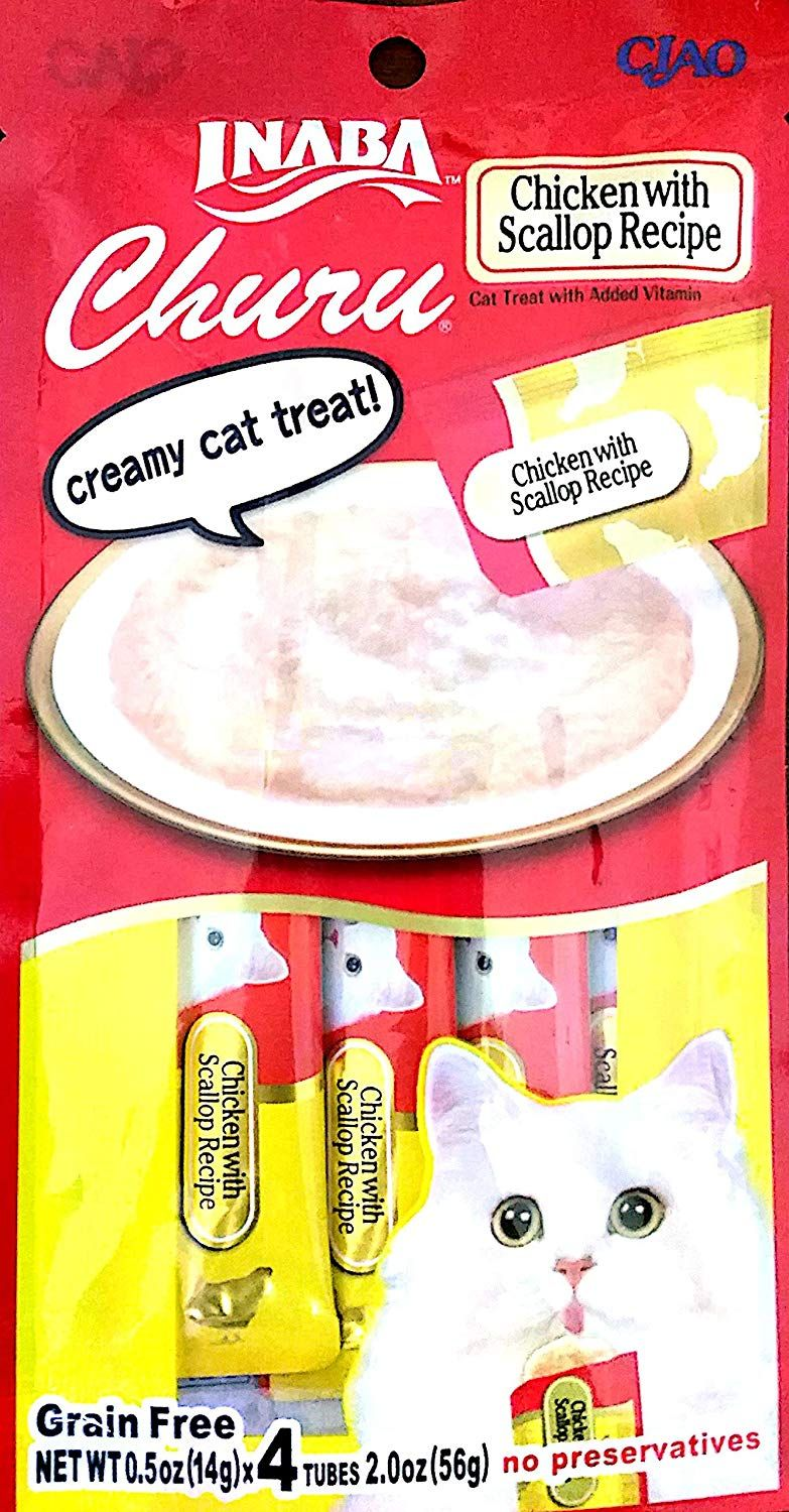 Ciao Creamy Cat Treat Chicken With Scallop 4 Tubes Pack