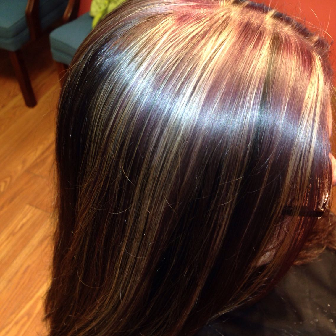 Did this awsome chocolate, blonde and purple weave yesterday! Love ...