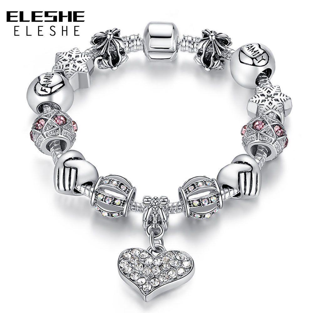 Fashion Femmes 925 Plaqué Argent Chaîne Serpent Pendentif en forme de cœur Bracelet Bangle
