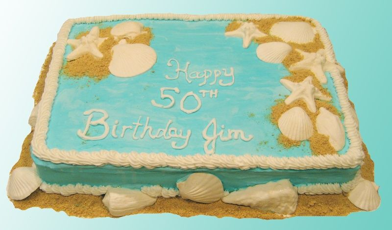 50th Birthday Cake Beach Theme Frosted Awesome With Images