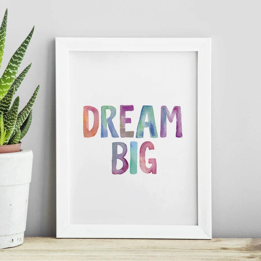 Dream Big http://www.amazon.com/dp/B016FFEH3Y word art print poster black white motivational quote inspirational words of wisdom motivationmonday Scandinavian fashionista fitness inspiration motivation typography home decor